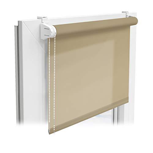 Floordirekt Sichtschutzrollo | lichtdurchlässiges Rollo als Sichtschutz am Fenster | Klemmfix ohne Bohren | (Terrakotta, 110x150 cm)