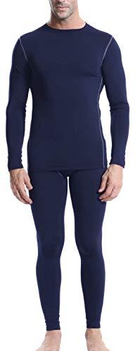 Arcweg T-Shirt et Collant Ensemble de sous-vêtement Thermiques Compression en Polaire Haut Elastique Respirant Confortable à Porter en 1ère Couche à Même la Peau Bleu Marine S(EU)=M(L'étiquette)