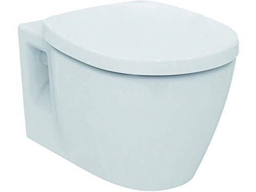 Ideal Standard CONECT WC Kombipaket; Wandtiefspülklosett; Wandbefestigung spülrandlos; WC-Sitz Absenkautomatik - K296001 weiß 360 x 540 x 340 mm