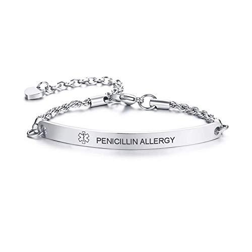 VNOX PENICILLIN Allergy Medical Bracelet Emergency Medical Alert ID Special Rope Chain Bracelets Women Girls,6.5-8.6 Inches,Silver