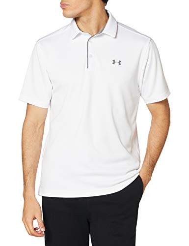 Under Armour Men's Tech Golf Polo , White (100)/Graphite, Large