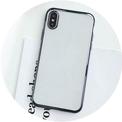 Luxury Plating Phone Case for iPhone X Case for iPhone 7 6 6S 8 Plus Fashion Clear Solid Color Soft TPU Back Cover Fundas,B,for iPhone X