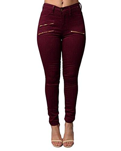 Kasen Mujer Cintura Alta Elásticos Pantalones Cremallera Decoración Pantalones De Lápiz Vino Rojo S