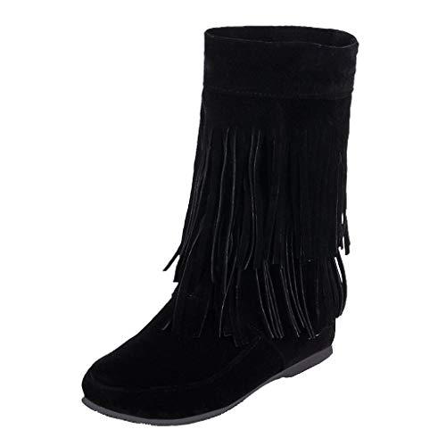 Stivali da Donna con Frange alla Moda con Zeppe a Fondo Piatto aumentate Stivali Corti Stivali in Pelle Scamosciata (39,2Nero)