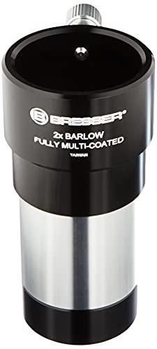 Bresser Teleskop Barlow Linse (2-fach, zur Verdoppelung der Brennweite eines Teleskopes, mit vollvergüteter 4-linsiger Optik, 31,7mm 1.25), schwarz