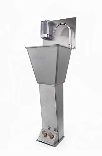 Lavamanos industrial acero inoxidable con doble pedal mezclador agua fría/caliente, dosificador de jabón y caño giratorio.