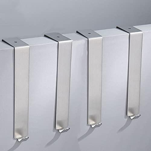PPuujia Gancho de pared para puerta de acero inoxidable, color negro, plateado, moderno, para colgar en el baño, para gabinete, cocina, 4 piezas por lote (color: plata larga)