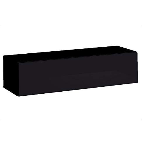 ASM Vitrine allongée - Noir - L 120 cm x P 40 cm x H 30 cm