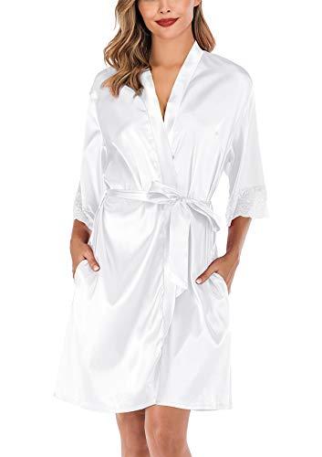 ABirdon Kimono Mujer Bata para Satén Batas Cortos Adorno de Encaje Dormir de Albornoz para Despedida de Soltera, Boda, Fiesta