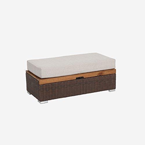 greemotion Rattan-Lounge Bahia Lanzarote, Sofa & Bett aus Polyrattan & Akazienholz, 2er Garten-Sofa mit Stahl-Gestell, Daybed zweigeteilt, braun - 5