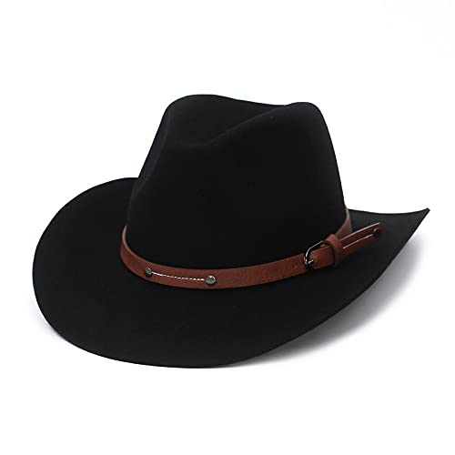 BUXIANGGAN Fedora Trilby Sombrero Fedora para Mujer Chapeau Belt Sombreros Negros para Hombres Gorras Simples De ala Ancha para Mujer Gorra De Jazz 57Cm Negro
