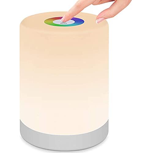 StillCool Luz de Nocturna Led, Lámpara de Mesita de Noche Regulable Cambio de Color RGB, Mango y Modo SOS para Dormitorio Oficina Sala de Estar y Acampada