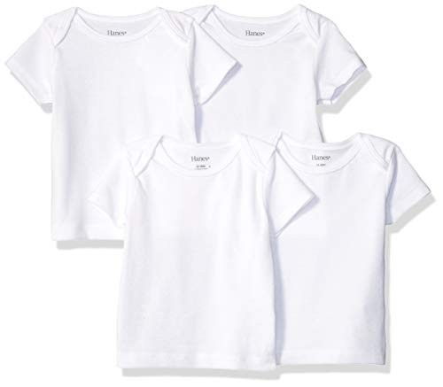 Hanes Ultimate Baby Flexy 4 Pack Short Sleeve Crew Tees, Diamond White, 12-18 Months