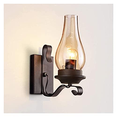 CMMT lámpara de pared Material de vidrio Estilo industrial Aplique de pared LED Dormitorio Lámpara de noche Pasillo Pasillo Retro Lámpara de pared creativa Lugar de ocio y entretenimiento Lámpara de p
