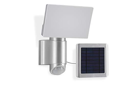 Telefunken - LED-buitenwandlamp met bewegingssensor, op zonne-energie, werkt op batterijen, buitenwandlamp 6 watt, 400 lumen, draaibaar, lichtkleur: 4.000 Kelvin neutraal wit, zilver