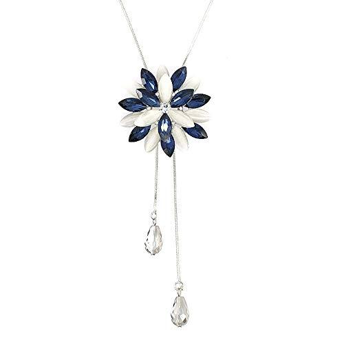 Colgante de flor de cristal collar largo copo de nieve colgante suéter declaración collares colgante ajustable borla collar para mujeres niña (azul)