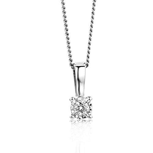 Orovi Collana Donna Solitario con Diamante taglio brillante Ct 0.04 in oro Bianco 9 kt 375 catena 45 cm