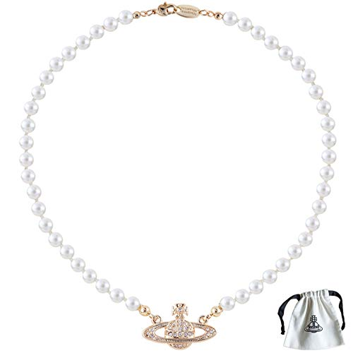 Collar Planeta Saturno, Collares de Perla Blanca Saturno El Mejor Regalo para Mujeres Niñas Amigas Novias Hijas Madres (Dorado)