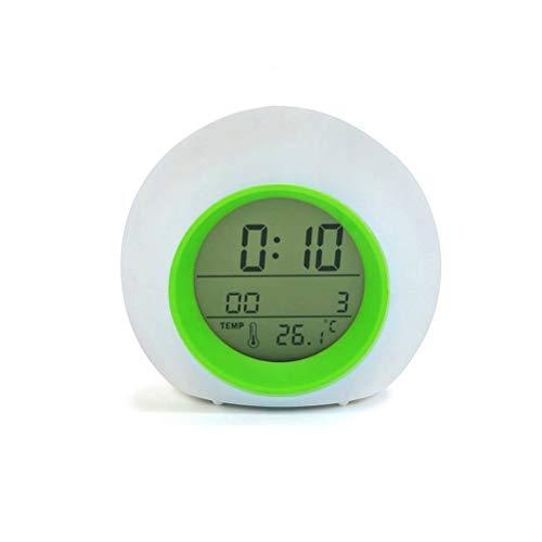 Release Luz LED Que Cambia De Color Relojes De Alarma Digitales Control Táctil Niños Niños Despertador Reloj Termómetro Naturaleza Música Regalos (Color : Green)
