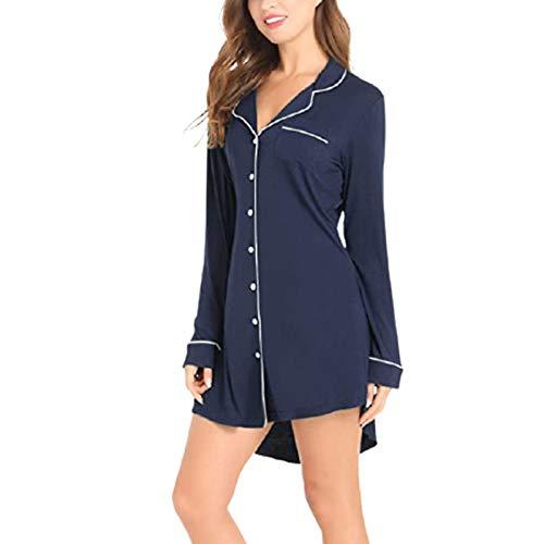 Conjunto De Pijama para Mujer Invierno con Bata Satén Ligero V-Cuello Diseño del Botón Frontal Camisón con Estampado De Cuadros Cárdigan Sexy De Longitud Media Disfraz Homewear Pijamas