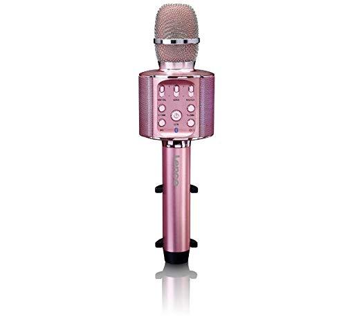 Lenco BMC-090 - Karaoke Mikrofon - Bluetooth V4.2 - Mit Smartphone-Halterung - 5 Watt RMS - LED Lichteffekte - integrierter Akku mit 1200mAh – Android und iOS - Pink