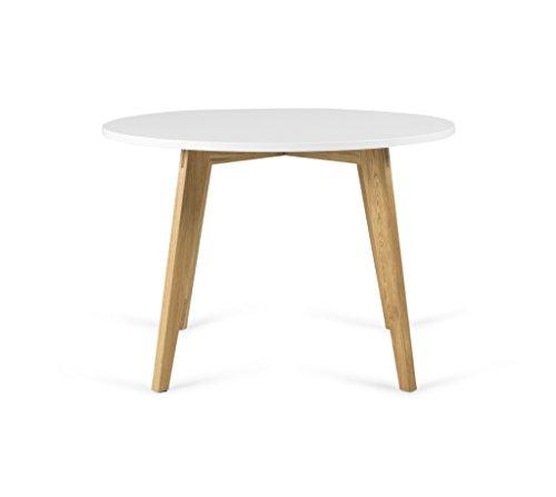 TENZO 3620-001 Dine Designer Tisch, MDF/Massiv Holz, Weiß/Eiche, 110 x 110 x 75,5 cm
