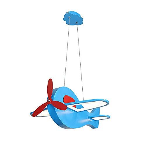 Luz de noche de dibujos animados avión azul rosa niños lámpara de jardín de infancia ajustable colgante luz de techo retro cristal redondo luces colgantes para dormitorio sala de estar