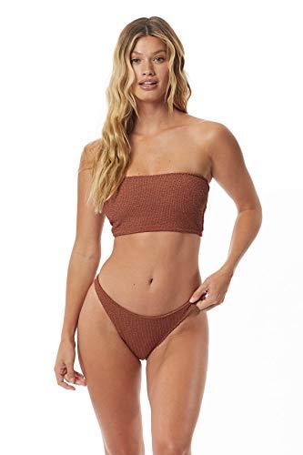 Tori Praver Women's Malibu Pucker Sass Smocked Bandeau Bikini Top Bronze M
