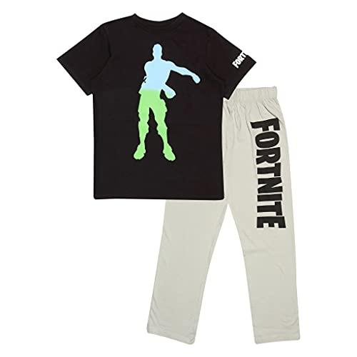 Fortnite Ombre Flossing Emote Boys Long Pyjamas Set Black/Heather Grey Juego de Pijama, Negro/Gris Jaspeado, 12-13 Años para Niños