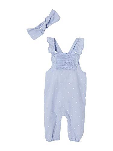 Vertbaudet Festliches Mädchen Baby-Set: Jumpsuit & Haarband hellblau 62
