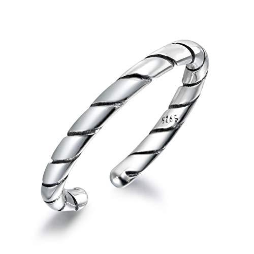 snorso einfach verstellbar Sterling Silber Twill Muster Daumen Ring Classic, Stapeln, Midi Ring für Frauen
