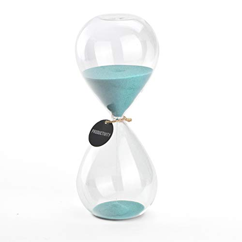 Hourglass Sand Timers - SWISSELITE Biloba Hourglass Sand Timer Inspired Glass/Home, Desk, Office Decor (Turquoise color,30 mins)