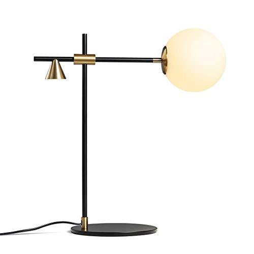 Lámpara de escritorio Dormitorio Mesita de noche Lámpara de lectura Balanzas Pesos Diseño Esférica Sombra de vidrio Negro Hierro forjado Acero al carbono Lámpara de mesa E27 Luz con interruptor