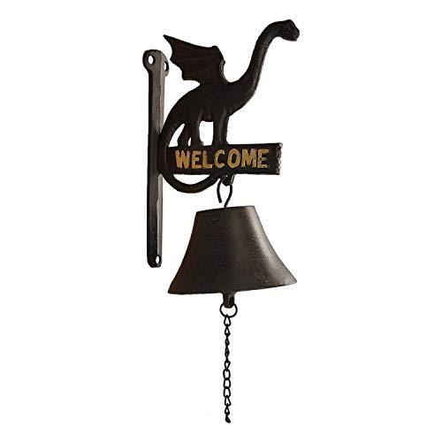 OUTOUR Medieval Cast Iron Dragon Door Bell Doorbell with Welcome Sign Wall Mounted for Indoor Outdoor Door, Gate, Garden, Patio, Lawn, Yard, Bar, Restaurant, Outdoor Decoration, Black