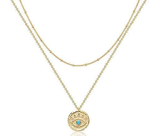 NC86 Collar de corazón en Capas Colgante Hecho a Mano Chapado en Oro Delicado Gargantilla de Oro Barra de Flecha Collar Largo con Capas para Mujer
