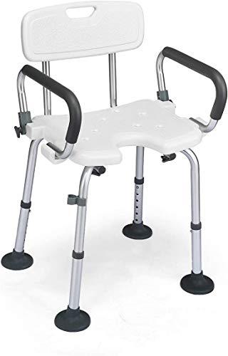 Silla de ducha Silla de ducha con recorte en forma de U, brazos removibles y acolchados, asiento de ducha de marco de aluminio ajustable sin deslizamiento de altura para ancianos y discapacitados