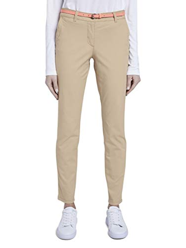 TOM TAILOR Damen Chino Slim Hose, 22201-cream Toffee, 40/30