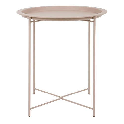 Hodge and Hodge Round Metal Folding Side Table Tray Top Light Portable Coffee Night Stand Pink