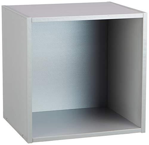 HOMEA 6ran697ag cubo portaoggetti con nicchia Pannelli di Particelle Argento 34,4x 29,5x 34,4cm