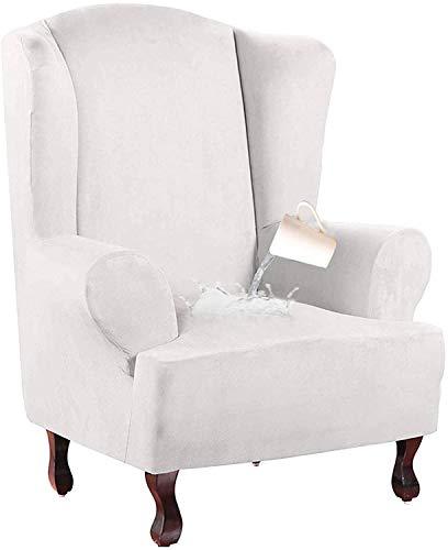 XDKS - Funda para silla de ala de ante, impermeable, funda de sofá elástica, funda de sofá de poliéster y licra.