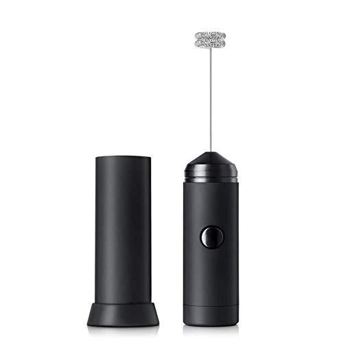 Rehomy Mezclador eléctrico de mano para café y leche, espumador de leche para el hogar, cocina de acero inoxidable, color negro