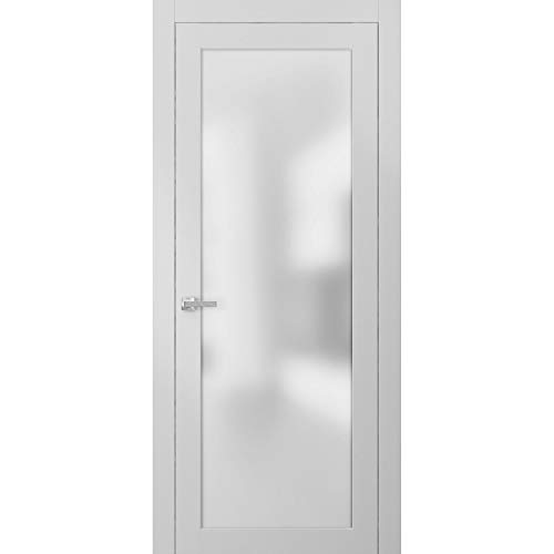 Lite Frosted Glass Door 32 x 80 | Planum 2102 White Silk | Frames Trims Satin Nickel Hardware | Opaque Glass Solid Core Wooden Panel Bathroom Bedroom