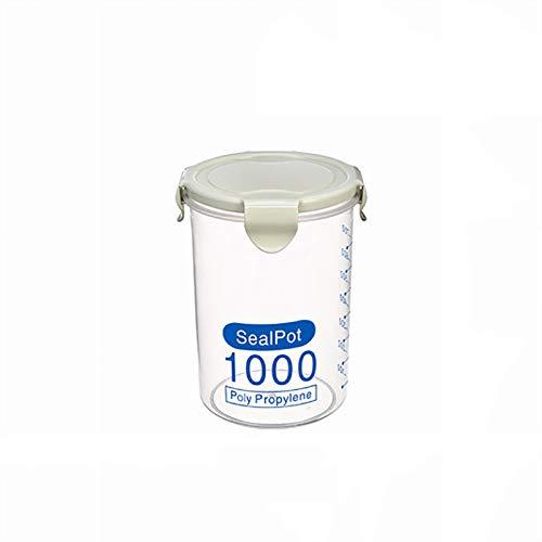 Hermético Contenedores De Almacenamiento De Alimentos, Alimentos Frescos Plástico Pot Contenedor con Tapas A Prueba De Fugas Apilable Libre De BPA Microondas Calefacción,Verde,1000ML
