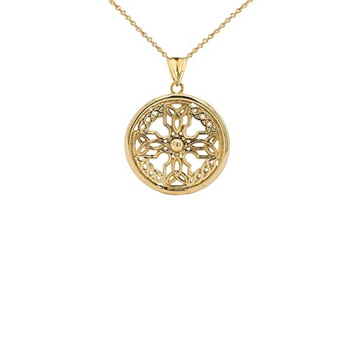 Certified 10k Yellow Gold Celtic Knot Cross Shield Pendant Necklace (Small), 16'