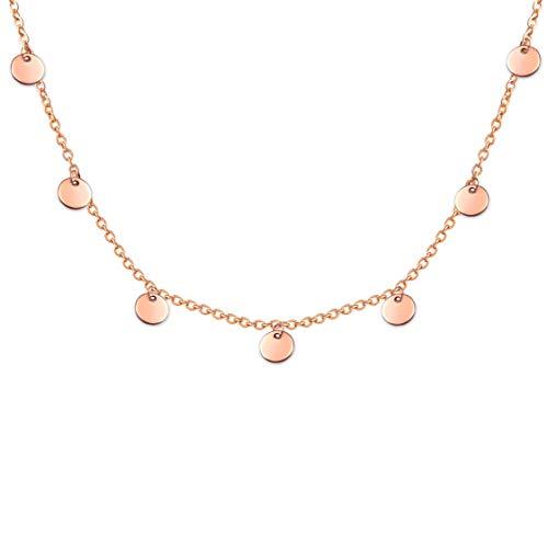 SHINE & WANDER Tiny Coin Necklace | Damen Boho Edelstahl Halskette mit 8 Plättchen in Gold, Silber und Roségold | verstellbar (Roségold)