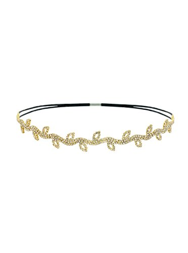 A+O Bohemian Crystal Leaf Vine Headband Hair Piece with Elastic in Gold