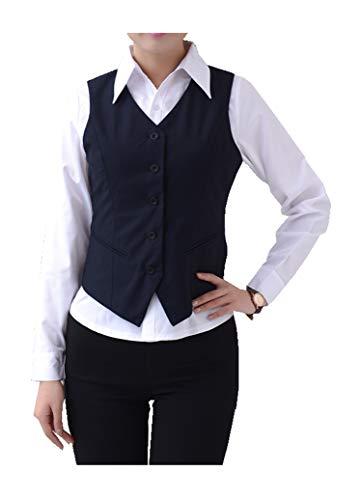 CYSTYLE Damen Anzugweste V-Ausschnitt Business Freizeit Weste Slim Fit Tops Blazers Weste mit Schal (Blau, 44)
