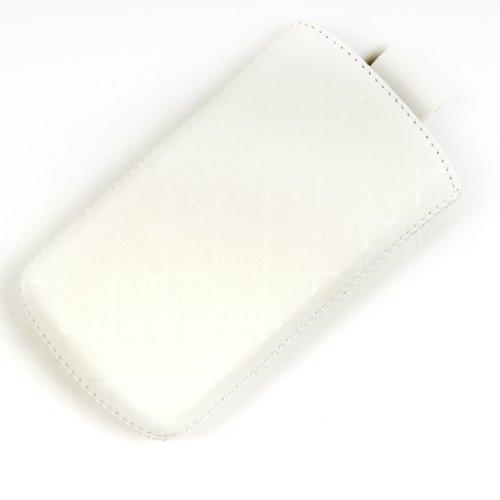 Valenta Etui offen - weiß - mit Ausziehlasche & trendigem Karodesign für Samsung SGH-D600