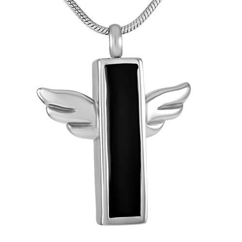 Liart Collares de urna Conmemorativa para Mujeres y Hombres, Colgante de Cruz con Barra de ala de ángel joyería de Recuerdo de cremación de Acero Inoxidable grabable