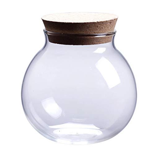 MHXY Transparent 10 x 11 cm Microlandscape Cork Runde Glasdichtung Ökologische Flasche Dichtung Pot Dichtungsbehälter ohne Licht Glasflasche